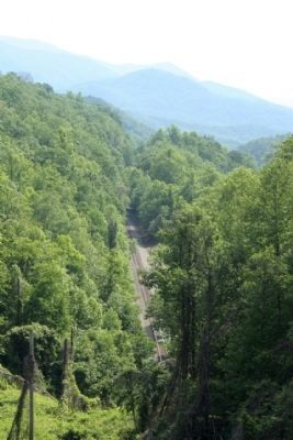 Track view from atop Swannanoa Tunnel , seen today image. Click for full size.