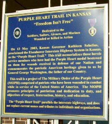 Purple Heart Trail in Kansas Marker image. Click for full size.