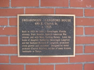 Swearingen - Langford House Marker image. Click for full size.