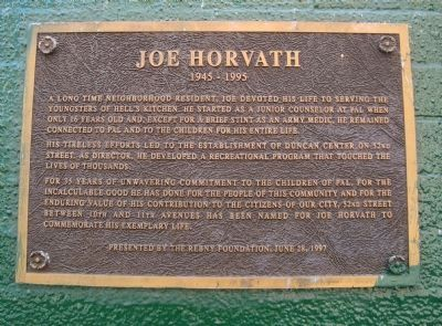 Joe Horvath Marker image. Click for full size.