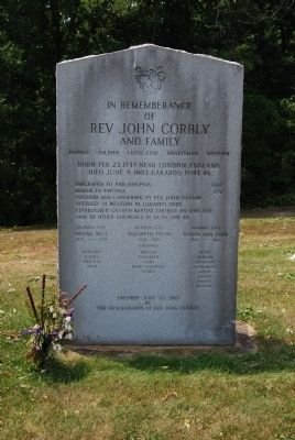 Rev John Corbley Family Monument image. Click for full size.
