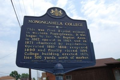 Monongahela College Marker image. Click for full size.