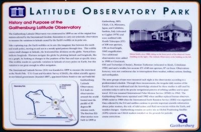 History and Purpose of the Gaithersburg Latitude Observatory Marker image. Click for full size.