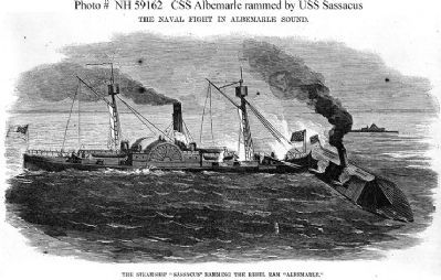 """The Steamship 'Sassacus' Ramming The Rebel Ram 'Albemarle'"" image. Click for full size."