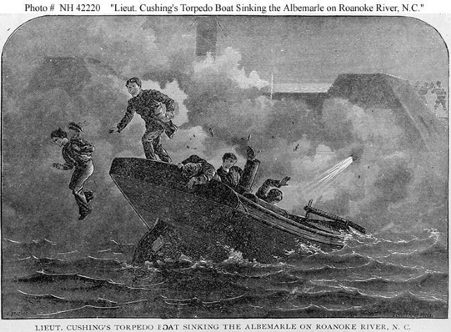 Lieut. Cushing's Torpedo Boat sinking the Albemarle on Roanoke River, N.C. image. Click for full size.