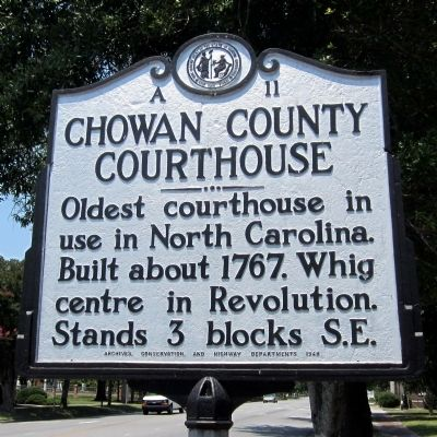 Chowan County Courthouse Marker image. Click for full size.