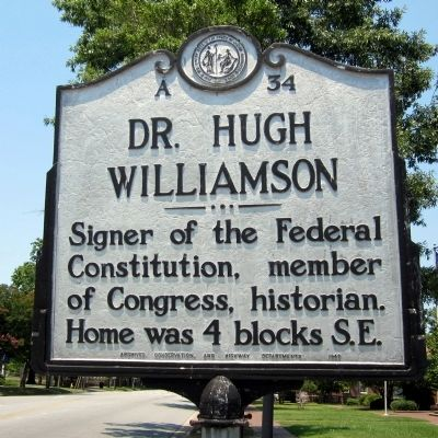 Dr. Hugh Williamson Marker image. Click for full size.