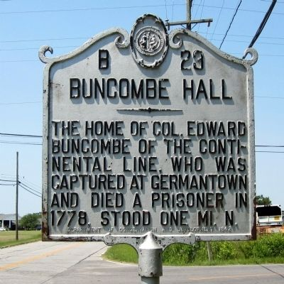 Buncombe Hall Marker image. Click for full size.
