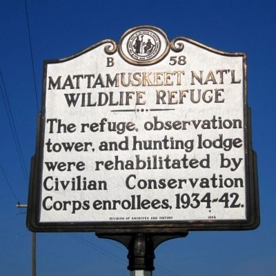 Mattamuskeet Nat'l Wildlife Refuge Marker image. Click for full size.
