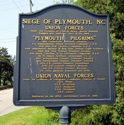 Siege of Plymouth, NC Marker image. Click for full size.