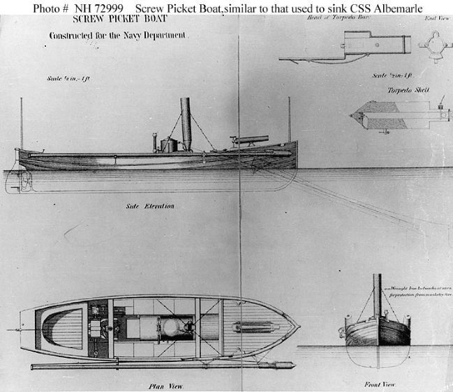 Screw Picket Boat similar to that used to sink the CSS <i>Albemarle</i> image. Click for full size.