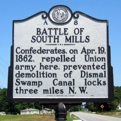 Battle of South Mills Marker image. Click for full size.