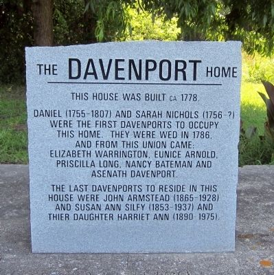 The Davenport Home Marker image. Click for full size.