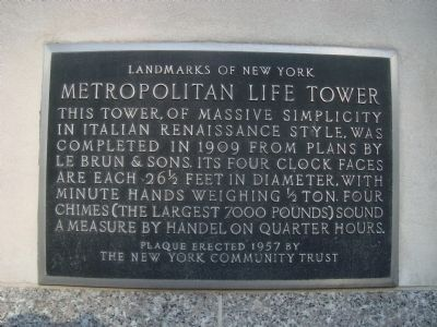Metropolitan Life Tower Marker image. Click for full size.
