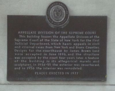 Appellate Division of the Supreme Court Marker image. Click for full size.