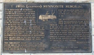 Swiss (Volhynian) Mennonite Memorial Marker image. Click for full size.