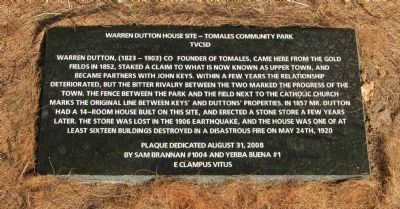 Warren Dutton House - Tomales Community Park Marker image. Click for full size.