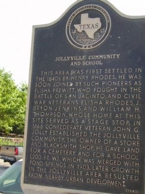 Jollyville Community and School Marker image. Click for full size.