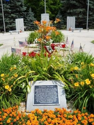 Manitowoc County Veterans Memorial Park Eternal Flame Marker image. Click for full size.