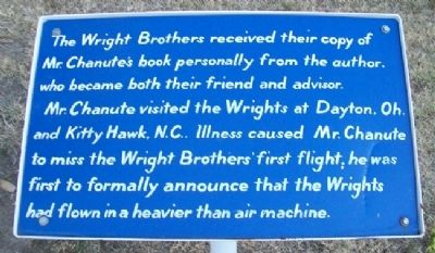 Chanute Announces Wright Brothers' Flight Marker image. Click for full size.