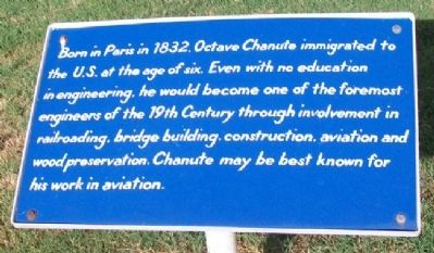 Octave Chanute: Engineer Marker image. Click for full size.