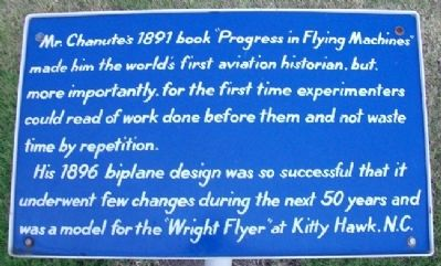 Octave Chanute&#39;s <i>Progress in Flying Machines</i> Marker image. Click for full size.