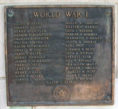 War Memorial WWI Marker image. Click for full size.