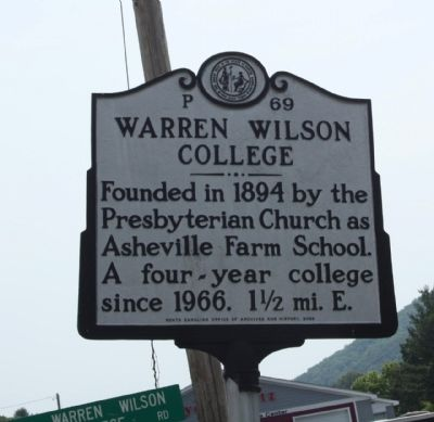 Warren Wilson College Marker image. Click for full size.