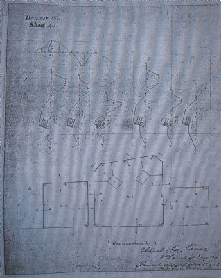 Copy of Civil War era engineering drawing of the three redoubts in the Aquia area. image. Click for full size.