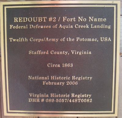Redoubt No. 2 / Fort No Name Marker image. Click for full size.