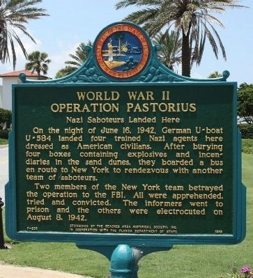 World War II Operation Pastorius Marker image. Click for full size.