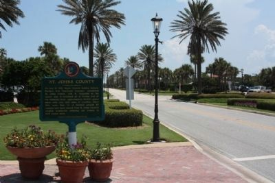 St. Johns County Marker side seen looking south along Ponte Vedra Blvd. image. Click for full size.