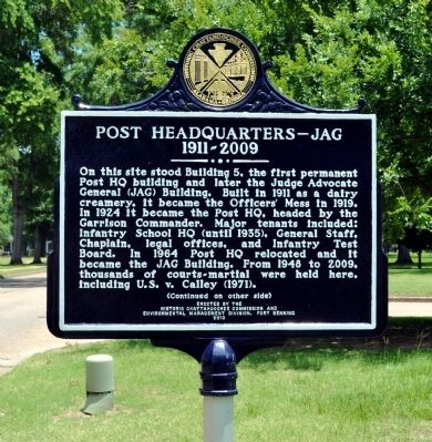 Post Headquarters -- JAG Marker, Side 1 image. Click for full size.