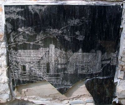 Neosho River Log Town Drawing on Marker image. Click for full size.