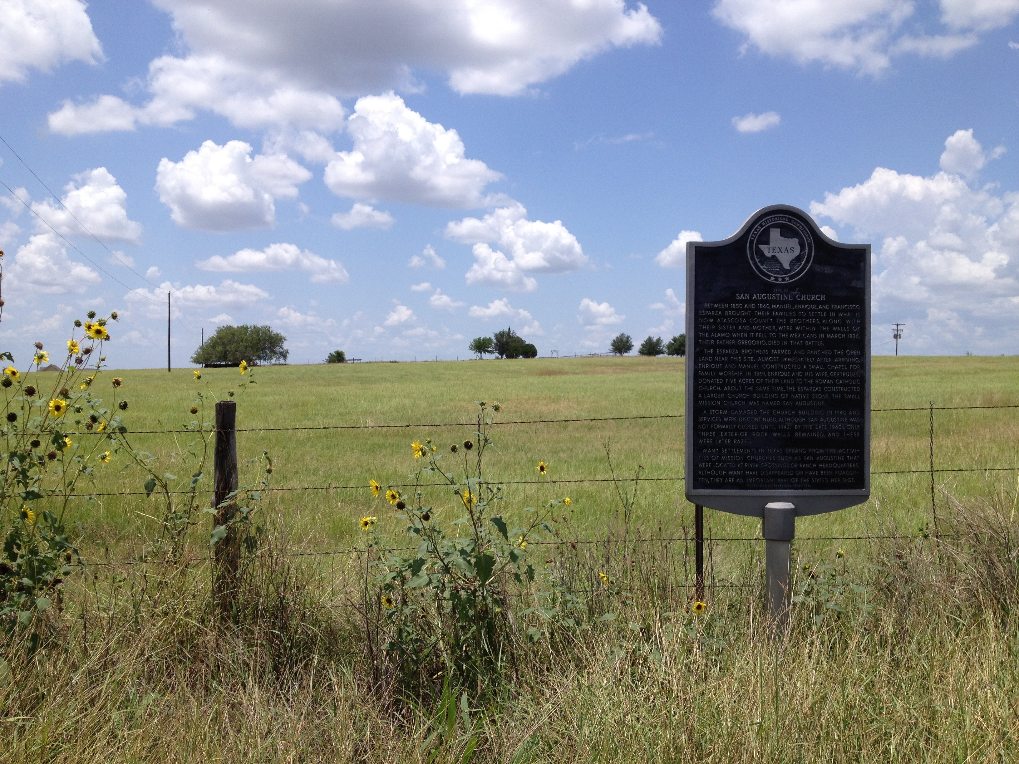 Site of San Augustine Church Marker
