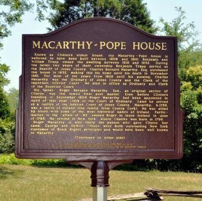 Macarthy~Pope House Marker, Side 1 image. Click for full size.