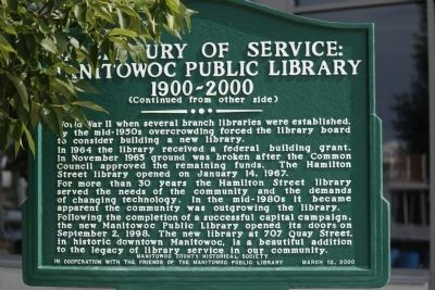 A Century of Service: Manitowoc Public Library 1900-2000 Marker image. Click for full size.