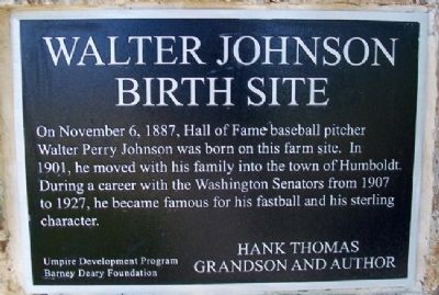 Walter Johnson Birth Site Marker image. Click for full size.