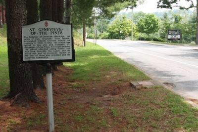 St. Genevieve ~ Of ~ The ~ Pines Marker, looking north along Victoria Road image. Click for full size.