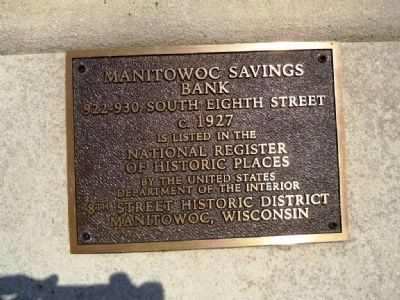 Manitowoc Savings Bank Marker image. Click for full size.