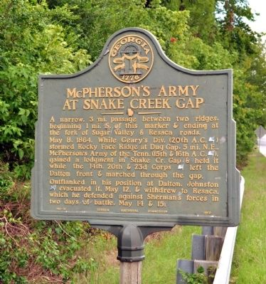 McPherson's Army at Snake Creek Gap Marker image. Click for full size.