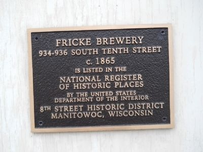 Fricke Brewery Marker image. Click for full size.