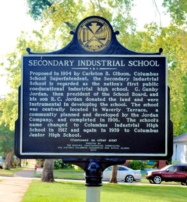 Secondary Industrial School Marker, Side 1 image. Click for full size.