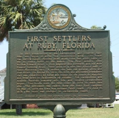 First Settlers At Ruby, Florida Marker image. Click for full size.