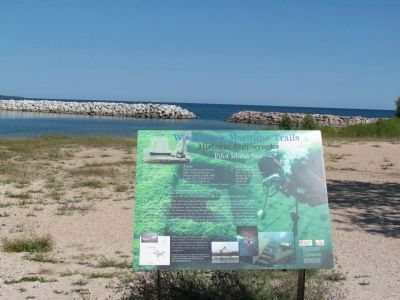 Marker and Lake Michigan image. Click for full size.