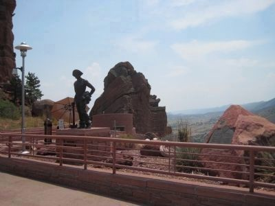 Red Rocks Amphitheatre Marker and CCC Worker Memorial image. Click for full size.