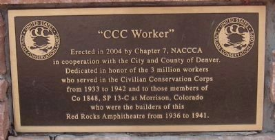 Plaque on the CCC Worker Memorial image. Click for full size.