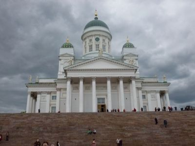 Helsinki Cathedral [Evangelical Lutheran Church of Finland] on its hill in Senate Square image. Click for full size.