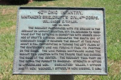 40th Ohio Infantry. Marker image. Click for full size.