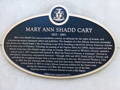 Mary Ann Shadd Cary Marker image. Click for full size.